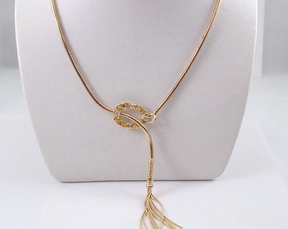 Vintage Diamond and Yellow Sapphire Lariat Tassel Necklace 14K Yellow Gold Adjustable