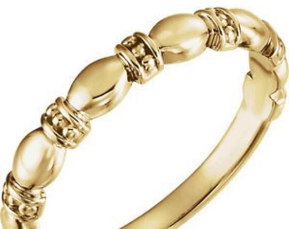 14K Stackable Ring, Patterned Band, Elegant Wedding Band, Fancy Style Band, Wedding Band