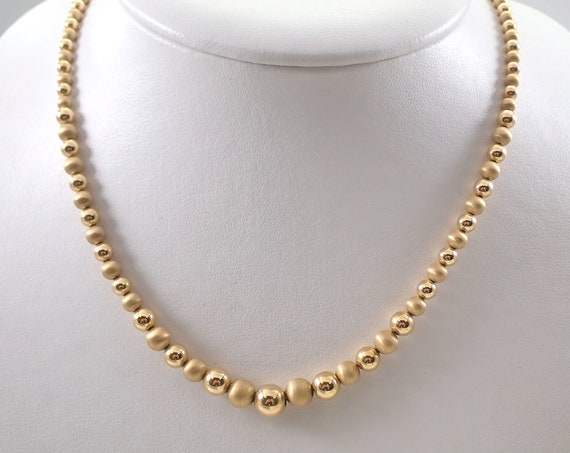 """Vintage Estate 14K Yellow Gold Necklace Graduated Beads Beaded 17"""" Chain"""