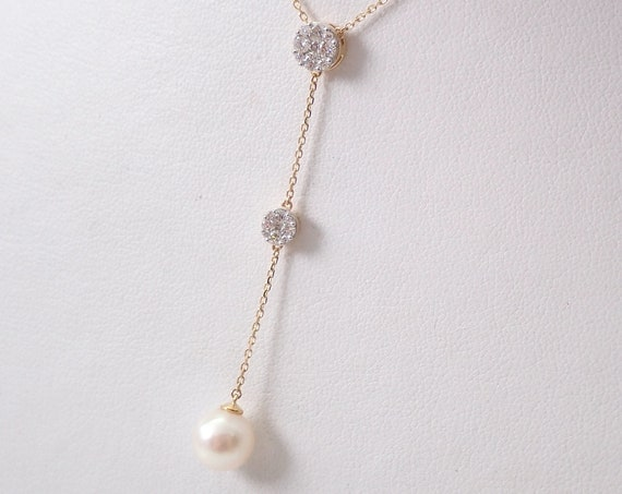 "Pearl and Diamond Lariat Necklace 14K Yellow Gold Wedding Pendant 16"" Chain"