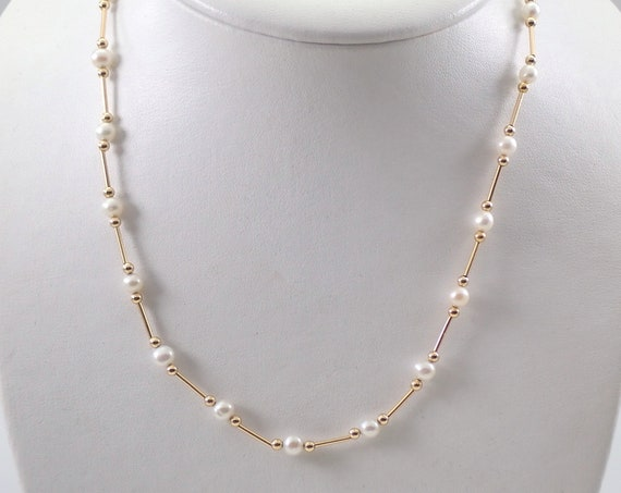 """Estate Vintage 14K Yellow Gold Pearl Tin Cup Necklace Chain 18"""""""