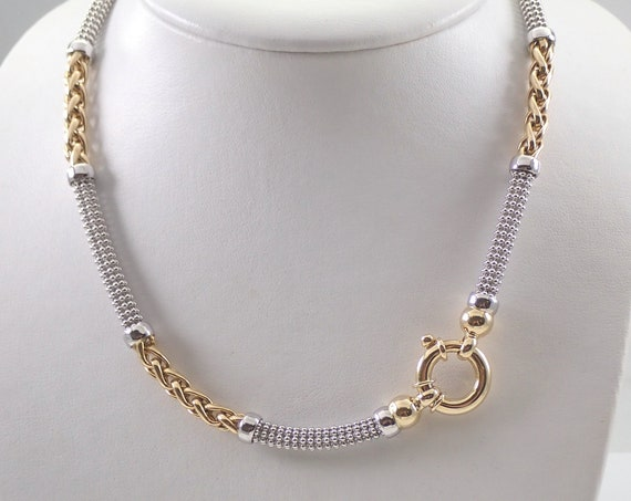 "14K White and Yellow Gold Necklace Toggle Clasp 18.5"" Chain Two Tone Estate Jewelry"