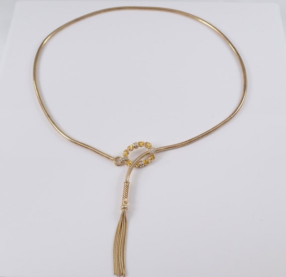 Vintage Diamond and Yellow Sapphire Lariat Tassel Necklace 14K Yellow Gold Adjustable