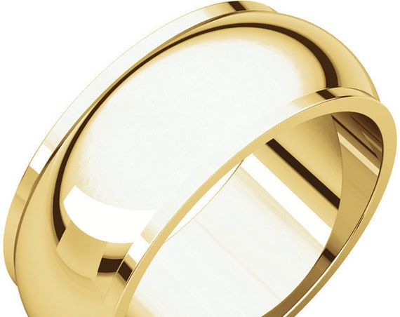 Half Round Edge 14K Yellow Gold 8mm Wedding Band, Engraved Wedding Ring, Gold Edge Detailing Anniversary Band, Eternity Band