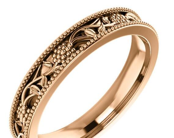 14K Gold Floral Design, Milgrain, Yellow Gold Ring, Rose Gold Ring, Unique Grape Flower Design
