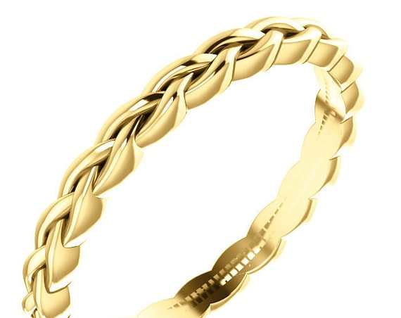 14K Stackable Wedding Ring, Twisted Design Band, Rose Gold Ring, Yellow Gold Ring