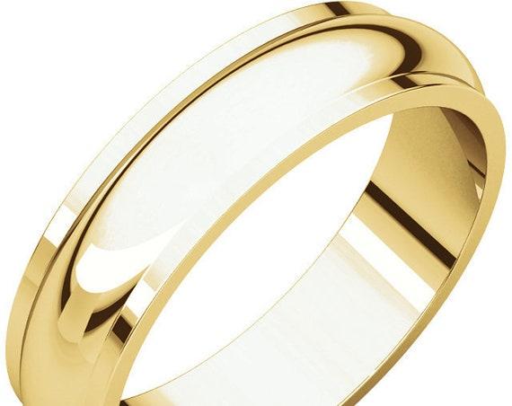 Half Round Edge 14K Yellow Gold 5mm Band, Matte Wedding Ring, Satin Anniversary Band, Eternity Band, Engraved Wedding Band, Edge Detailing