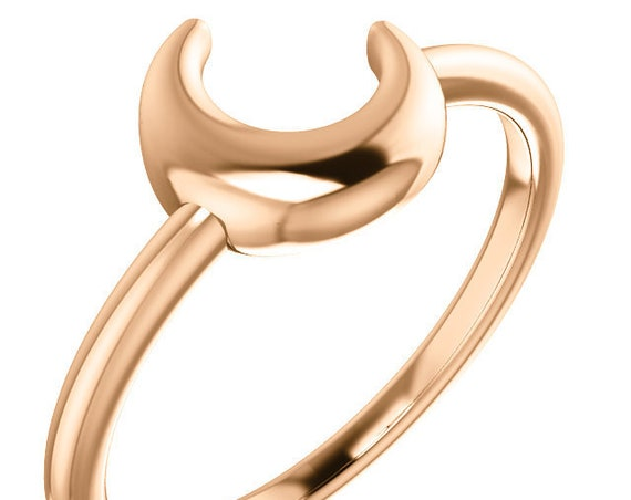 Crescent Moon Ring, 14K Yellow Gold Ring, 14K Rose Gold Ring, 14K White Gold Ring, Gift Idea, Gift for her