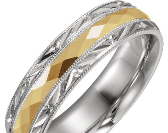 14K Comfort Fit Wedding Ring, Two Tone Ring, White and Yellow Gold, Eternity Milgrain Band