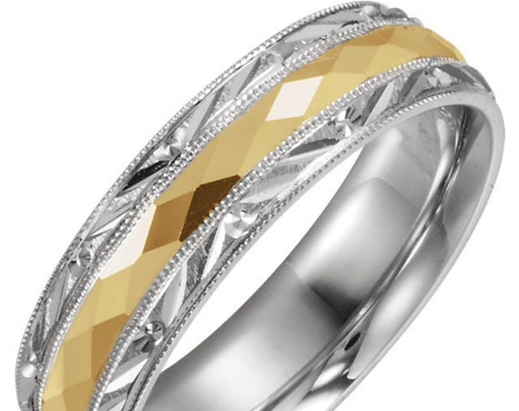 14K White and Yellow Gold Comfort Fit Wedding Ring Anniversary Band All Sizes Available