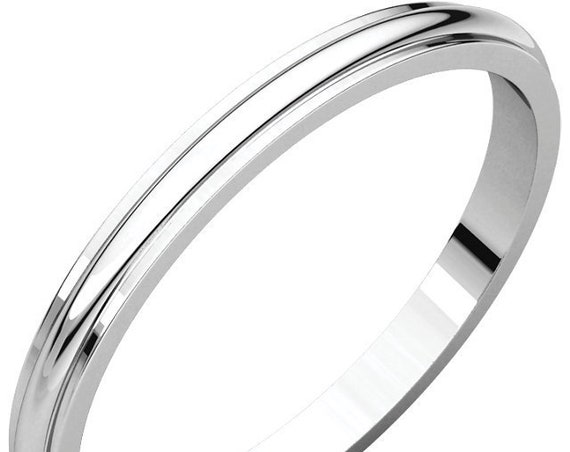 Half Round Edge 14K White Gold 2mm Band, Traditional Wedding Ring, Anniversary Band, Eternity Band, Engraved Wedding Band, Edge Detailing