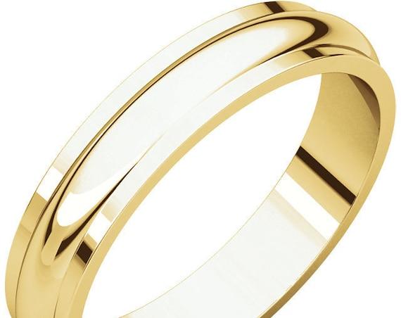 Half Round Edge 14K Yellow Gold 4mm Traditional Band, Satin Finish Wedding Ring, Matte Anniversary Band, Eternity Band, Edge Detailing