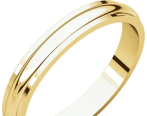 Custom Wedding Ring, Solid Gold Ring, Half Round Edge 14K Yellow Gold 3mm Band, Wedding Ring, Anniversary Band, Edge Detailing