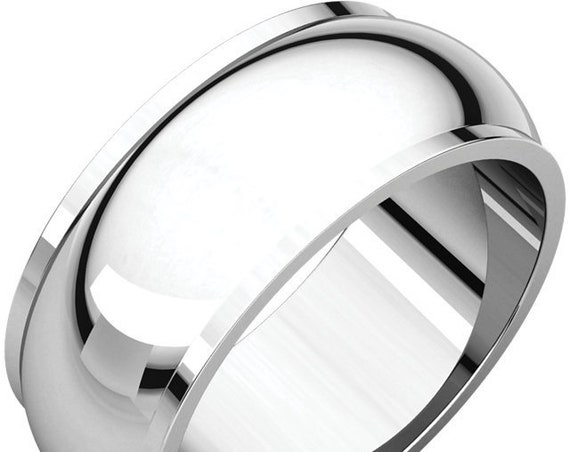 Half Round Edge 14K White Gold 8mm Band, Satin Wedding Ring, Matte Anniversary Band, Frosted Eternity Band, Engraved Wedding Band