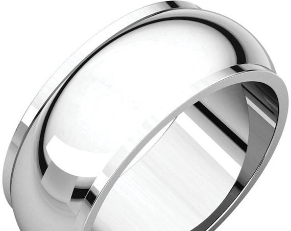 Heavyweight White Gold Ring, Half Round Edge 14K White 8mm Band, Wedding Ring, Anniversary Band, Eternity Band, Engraved Wedding Band,