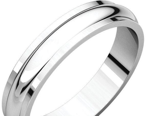Traditional Half Round Edge 14K White Gold 4mm Wedding Band, Matte Wedding Ring, Satin Anniversary Band, Custom Eternity Band
