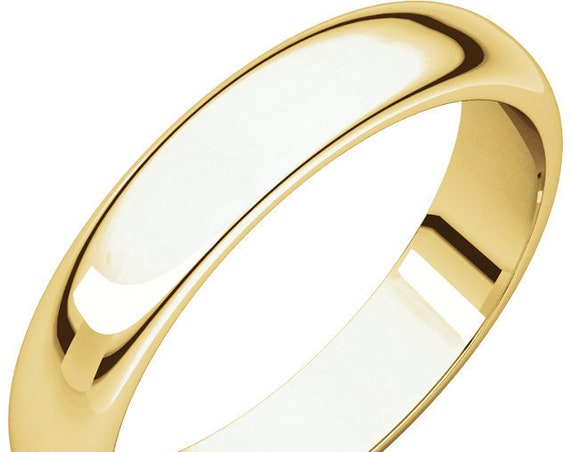 Classic 14K Yellow Gold 4mm Band, Polished Wedding Ring, Matte Anniversary Band, Satin Eternity Band, Engraved Wedding Band