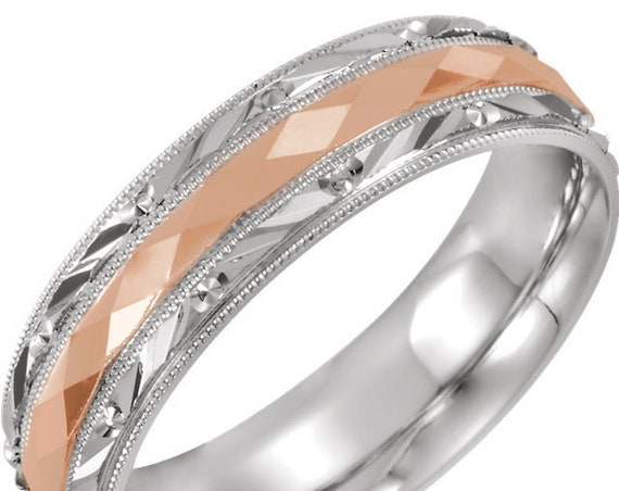 14K Comfort Fit Wedding Ring, White and Rose Gold, Milgrain Eternity Band, Two Tone Ring
