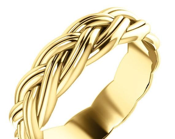 14K Gold Wedding Band, Braided Unisex Ring, Braided Gold Wedding Ring, 14K Yellow Gold Anniversary Ring, 14K Rose Gold Wedding Ring