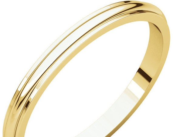Thin Gold Half Round Edge 14K Yellow Gold 2mm Band, Edge Detailing, Satin Wedding Ring, Frosted Anniversary Band, Matte Eternity Band