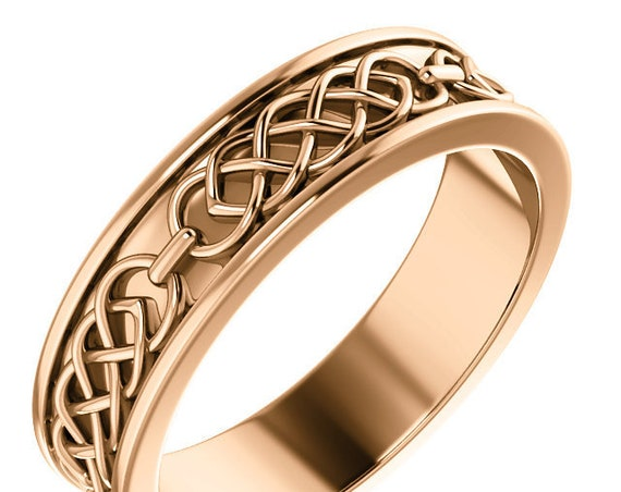 Men's 14K Rose Gold Celtic Inspired Ring, Pink Gold Stackable Band, White Gold Engraved Design Ring, Yellow Gold Men's Band