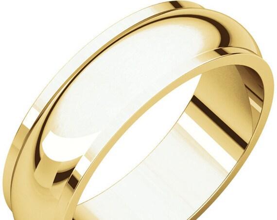 Half Round Edge 14K Yellow Gold 6mm Band, Wedding Ring, Anniversary Band, Wide Eternity Band, Engraved Wedding Band, Edge Detailing