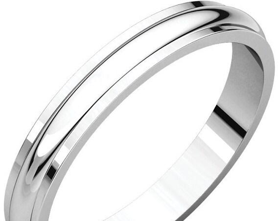 Custom 14K White Gold 3 mm Wedding Ring, Edge Detailing, Half Round Edge Band, Matte Wedding Ring, Satin Anniversary Band, Eternity Band