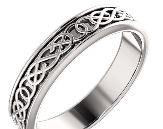 Unisex 14K Gold Celtic Inspired Ring, White Gold Stackable Band, Rose Gold Band, Yellow Gold Ring, Engraved Design Ring