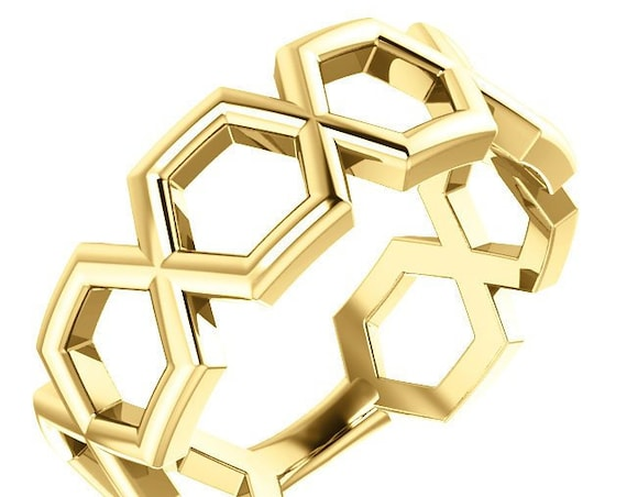 14K Gold Geometric Ring, Hexagonal Shape, Stackable Ring, Patterned Band, Comfort fit Ring, Symmetrical Band