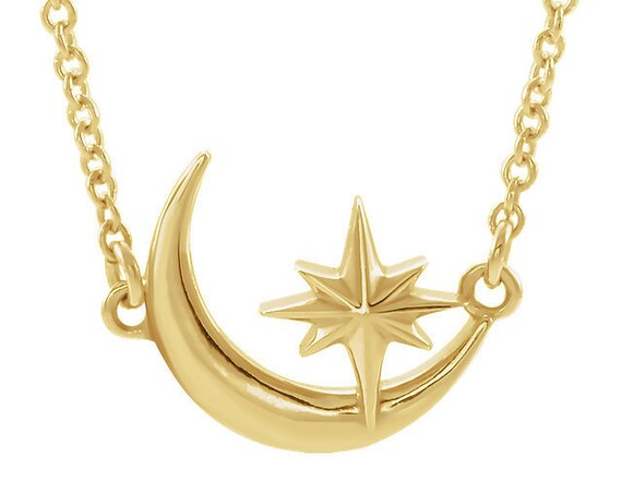 Crescent Moon and Star necklace, Moon necklace, Star necklace, Celestial necklace