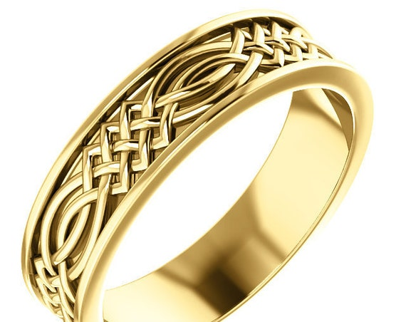 Men's 14K Gold Celtic Inspired Ring, Rose Gold Stackable Band, Pink Gold Band, Yellow Gold Ring, White Gold Engraved Design Ring
