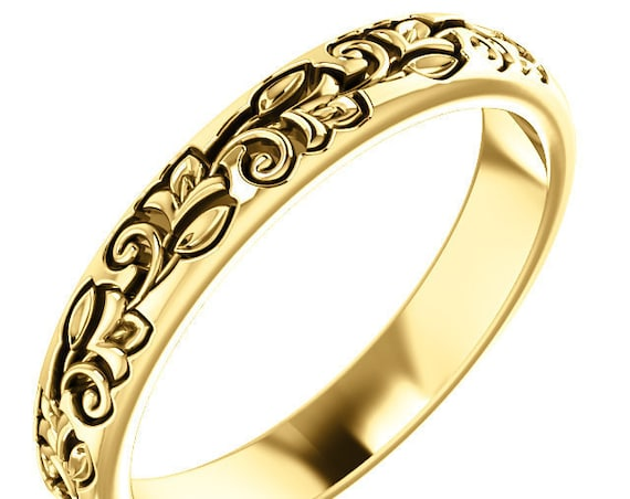 14K Yellow White Rose Gold Floral Design Wedding Ring Stackable Anniversary Band All Sizes Available