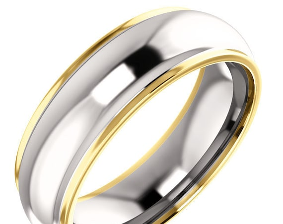 Men's Women's 14K Yellow White Gold Two Tone Wedding Ring, Comfort Fit Anniversary Band 6 mm, Eternity Band