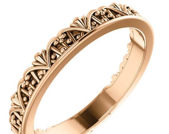 14K Gold Wedding Ring, Vintage Inspired Ring, Vintage Inspired Ring, Eternity Band, Yellow Gold Ring, Rose Gold Ring