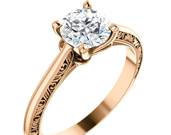 14K White Rose Yellow Gold Solitaire Diamond Engagement Ring Setting Semi-Mount