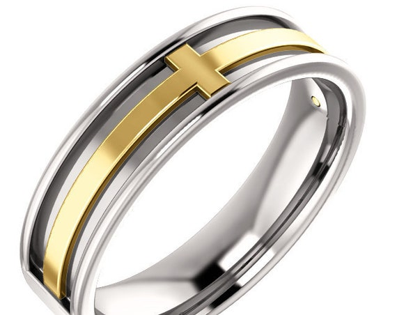 14K White and Yellow Rose Gold Cross Inspired Wedding Ring Anniversary Band All Sizes Available