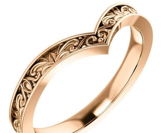 """Vintage Inspired """"V"""" Ring, Antique Inspired, 14K Rose Gold, 14K White Gold, 14K Yellow Gold, Heart Shaped Ring, Gift for her"""