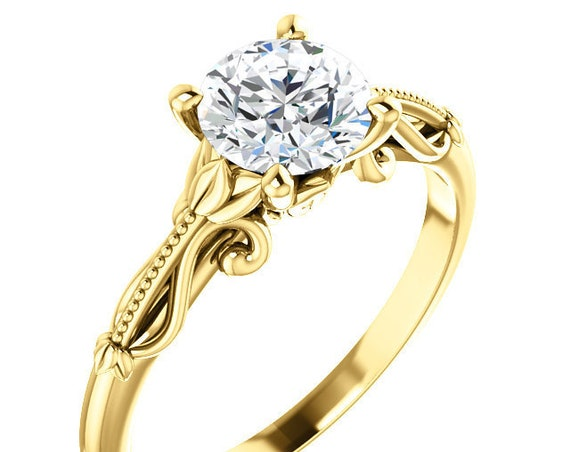 Solitaire Engagement Ring Setting, 14K White Gold, 14K Rose Gold, 14K Yellow Gold, Vintage-Inspired Engagement Ring Setting Semi-Mount