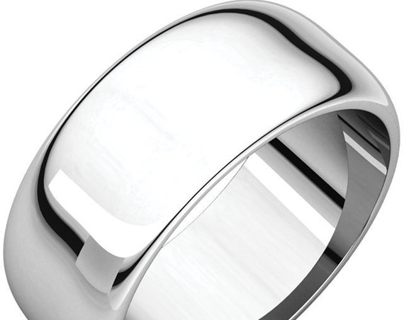 Classic 14K White Gold 8mm Band, Simple Wedding Ring, Unisex Anniversary Band, Eternity Band