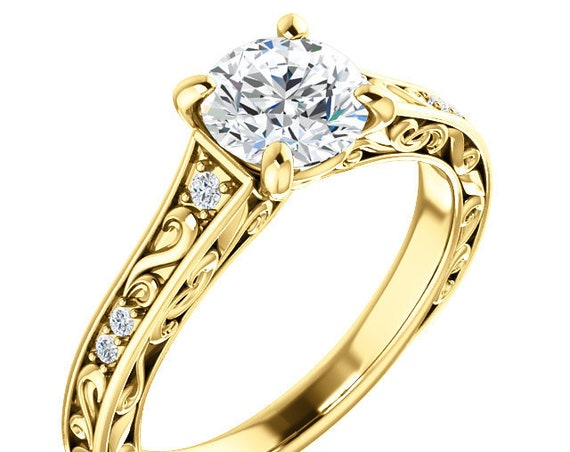 14K White Rose Yellow Gold Vintage Style Diamond Engagement Ring Setting Semi-Mount