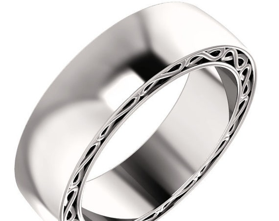 Unisex 14K White Gold 6mm Wedding Band, Textured Rose Gold Ring, Yellow Gold Ring, Infinity Wedding Ring, White Gold Anniversary Band