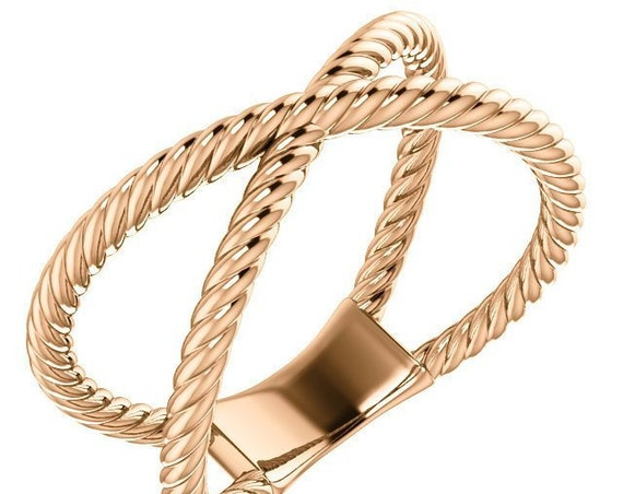14K Criss-Cross Rope Ring, Rope Band, Intersecting Rings, Intertwined Ring, Midi Ring