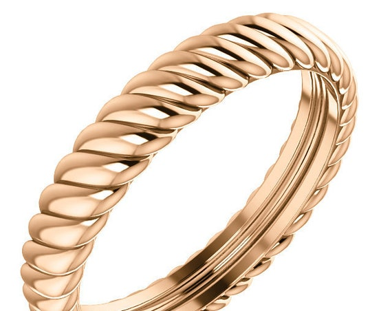14K Yellow White Rose Gold Rope Style Wedding Ring Stackable Anniversary Band All Sizes Available
