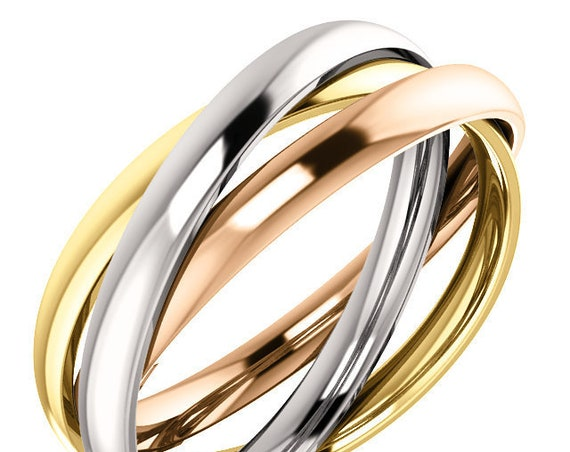 14K White Yellow and Rose Gold Rolling Inspired Wedding Ring Anniversary Band All Sizes Available