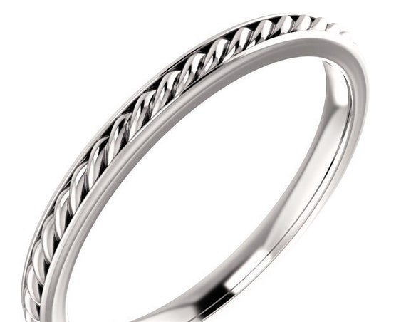 14K Engraved Rope Wedding Band, Yellow Gold Ring, Rose Gold Ring, Stackable Band, Eternity Anniversary Band