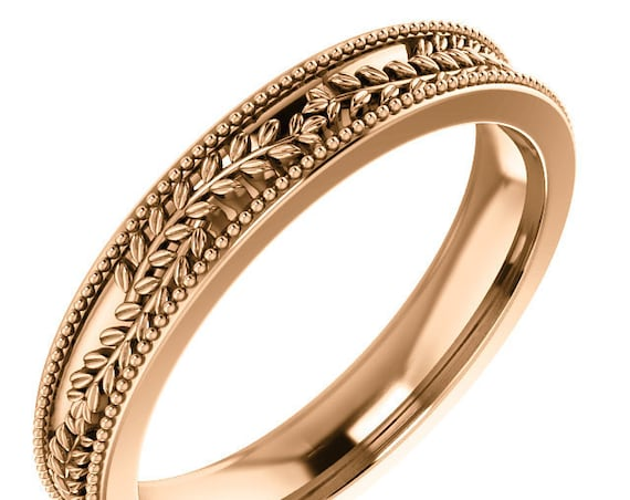 14K Gold Greek Inspired Wedding Ring, Stackable Anniversary Band, Milgrain Design, Yellow Gold Ring, Rose Gold Ring