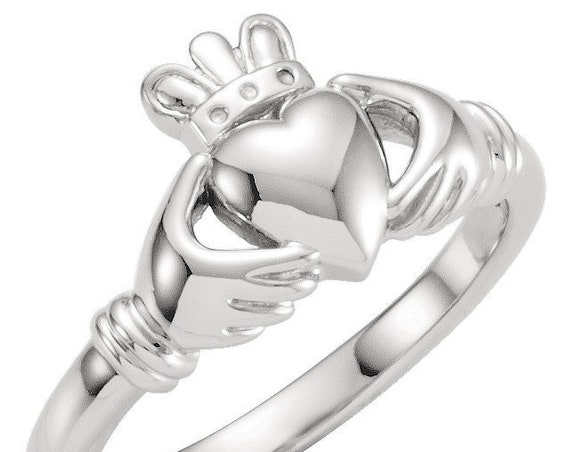 Kids Claddagh Ring, 14K Gold Youth Claddagh Ring, Yellow Gold Claddagh Ring, White Gold Claddagh Ring, Traditional Irish Ring