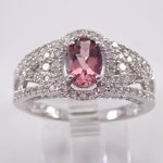 RESERVED/SOLD Pink Tourmaline and Diamond Engagement Ring 14K White Gold Size 7 October Gemstone