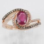 Ruby Engagement Ring, Ruby and Diamond Ring, Gemstone Engagement Ring, 14K Rose Gold Ring, Cognac Diamond Ring, Size 7, July Gemstone