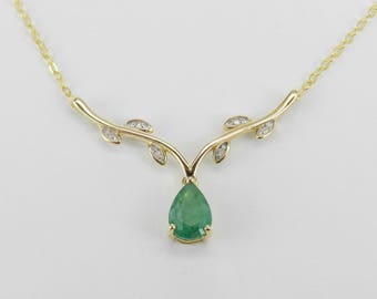 Emerald gold pendant etsy emerald and diamond necklace yellow gold pendant 17 chain wedding gift aloadofball Choice Image